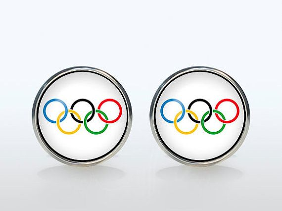 Olympic symbol Cufflinks Silver plated Olympic sign Cuff links men and women Accessories rainbow green blue red black yellow