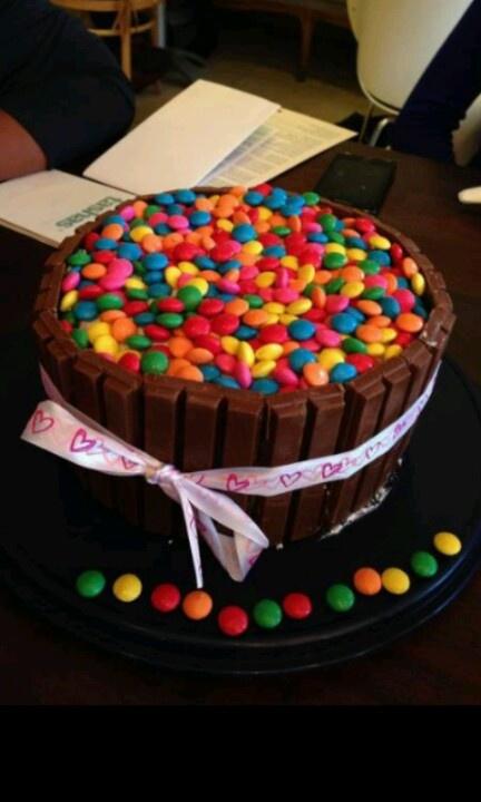 Smarties barrel cake