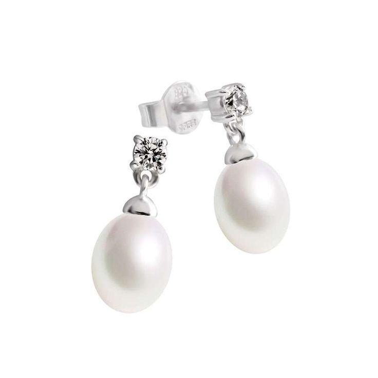 Perl-Ohrhänger silber mit ovalen, weißen Muschelkernperlen und weißen Zirkonia-Steinen