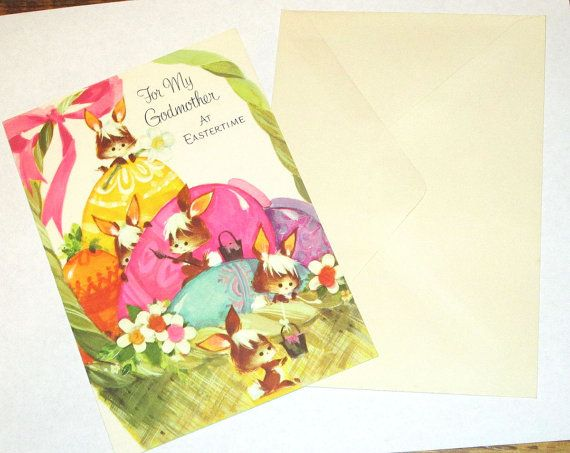 Old Vintage unused 1970'S cute Bunny Rabbits painting Easter Eggs For My Godmother greeting card Sangamon nice for giving or for crafts cute