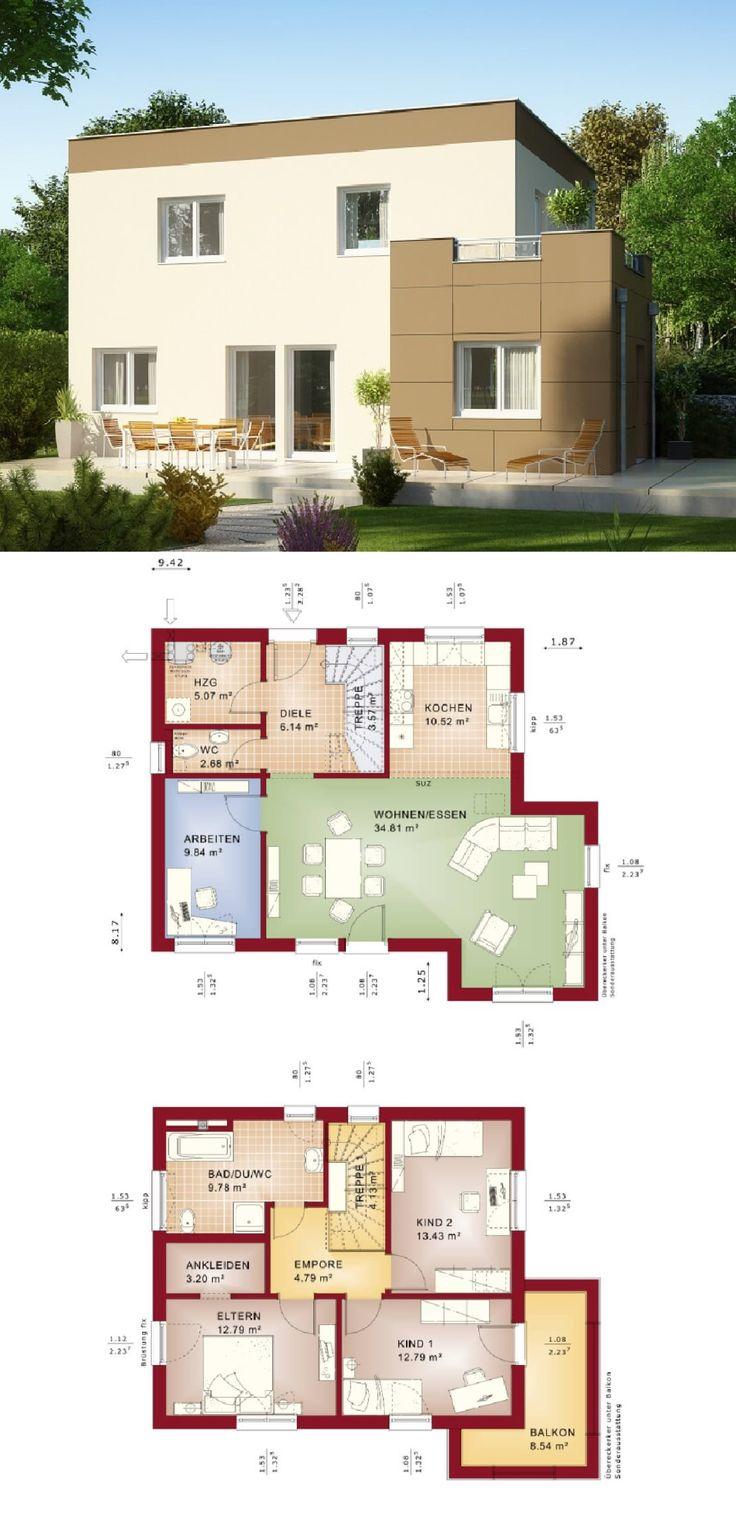 Stadtvilla Im Bauhausstil Mit Flachdach Und Erker Anbau   Haus Grundriss  Evolution 125 V9 Bien Zenker