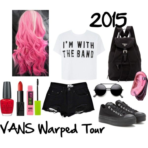 Warped Tour 2015 Outfit by lolmariaaa on Polyvore featuring polyvore, fashion, style, Boohoo, Converse, Prada, NARS Cosmetics, Maybelline and OPI