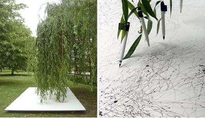 land art Tim Knowles,, Tree drawings '' 4 panael Weeping Wellow, 2006, 50 pens suspened from the branches of a Weeping Willow tree create a drawing on 4 panels placed horizontally beneath the tree. The drawing is accompanied by a looped video of its production.