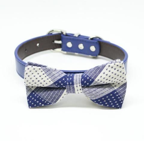 Royal Blue Dog Bow tie collar, Royal blue bow, Plaid bow, Pet wedding accessory, Some thing blue