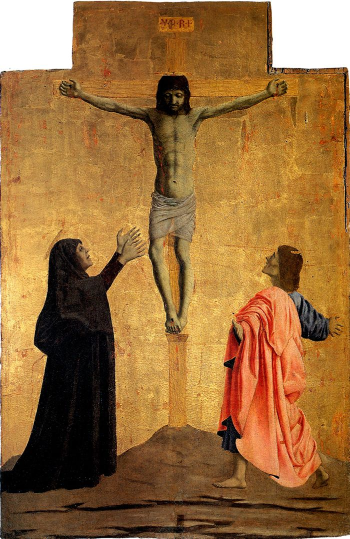 Piero della Francesca, Polyptych of Misericordia: Crucifixion, tempera and oil on panel, Sansepolcro, Museo Civico