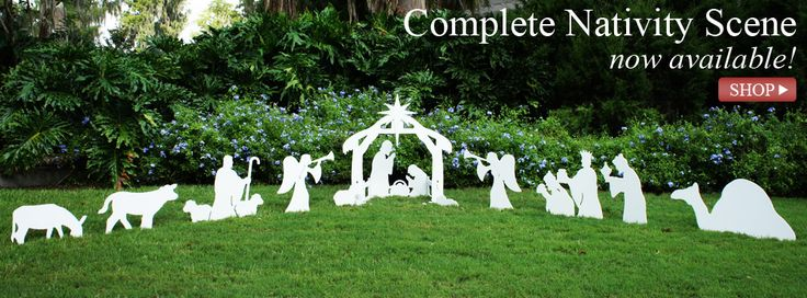 I'm already thinking about Christmas!  I love these Outdoor Nativity Sets!  I have the nativity scene and angels - but I want a shepherd!  Oooh, or maybe the wise men.  I can't decide!!