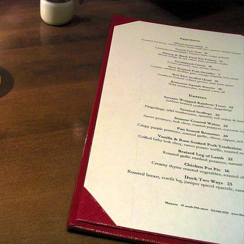 how to write a restaurant menu