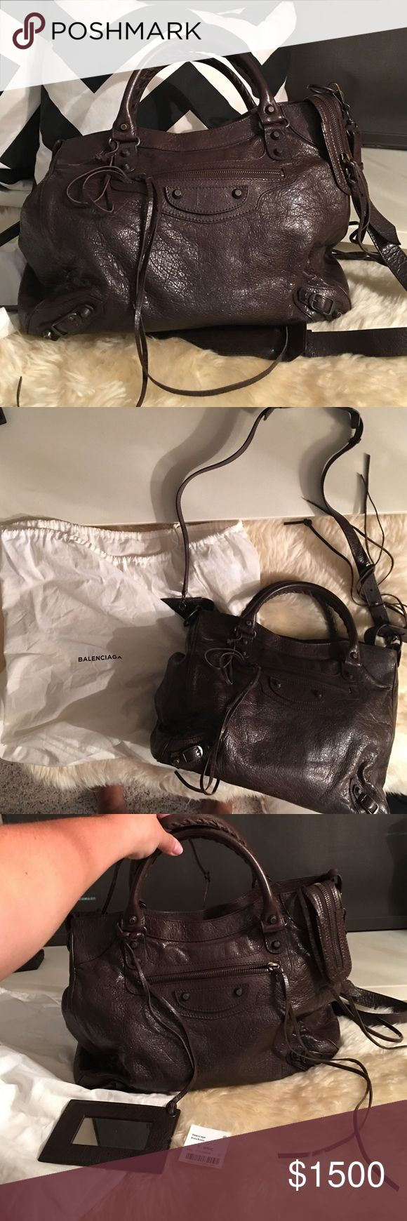 NWT Chocolate Balenciaga Velo Bag Purchased in 2014 and never before worn. Dark brown chocolate leather with matching hardware. Balenciaga Bags Shoulder Bags
