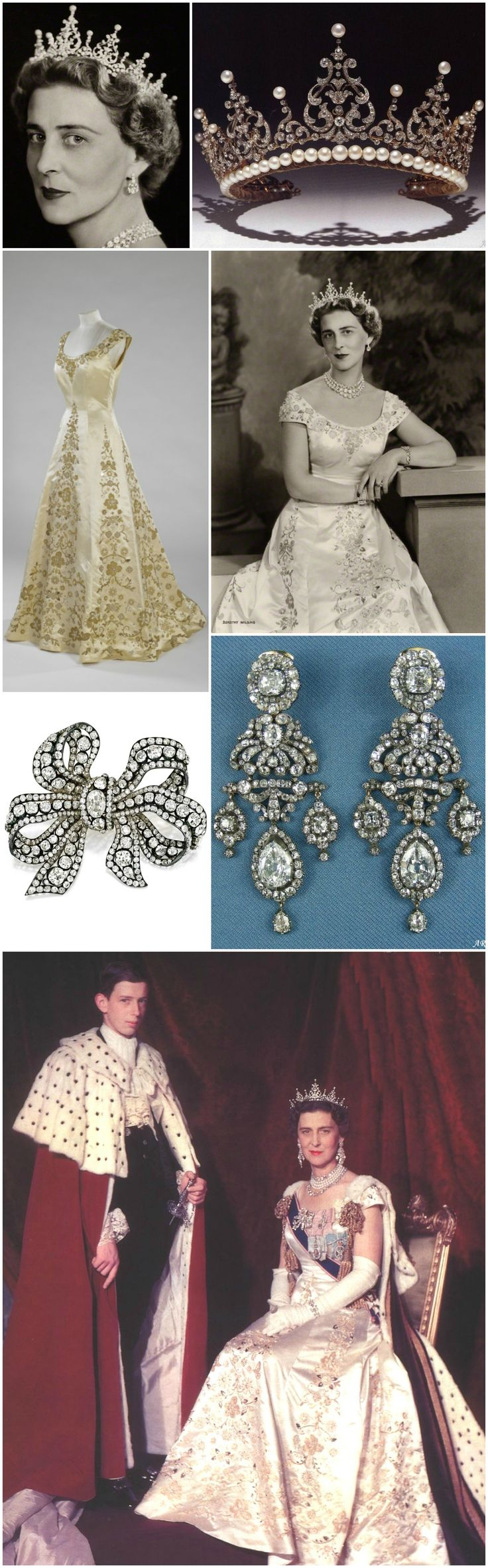 Like other members of the Royal family, H.R.H. Princess Marina, the Duchess of Kent, wore a Hartnell design—a gown of white satin with panels of embroidery—for the 1953 coronation. Her accessories included the Kent Festoon Tiara, a diamond bow brooch, and a large pair of fabulous girandole earrings, dating to the 1900s, 1850, and the 1770s, respectively (see color portrait). Dorothy Wilding photographed her wearing the same Hartnell dress and tiara in 1953 (see accompanying B&W images).