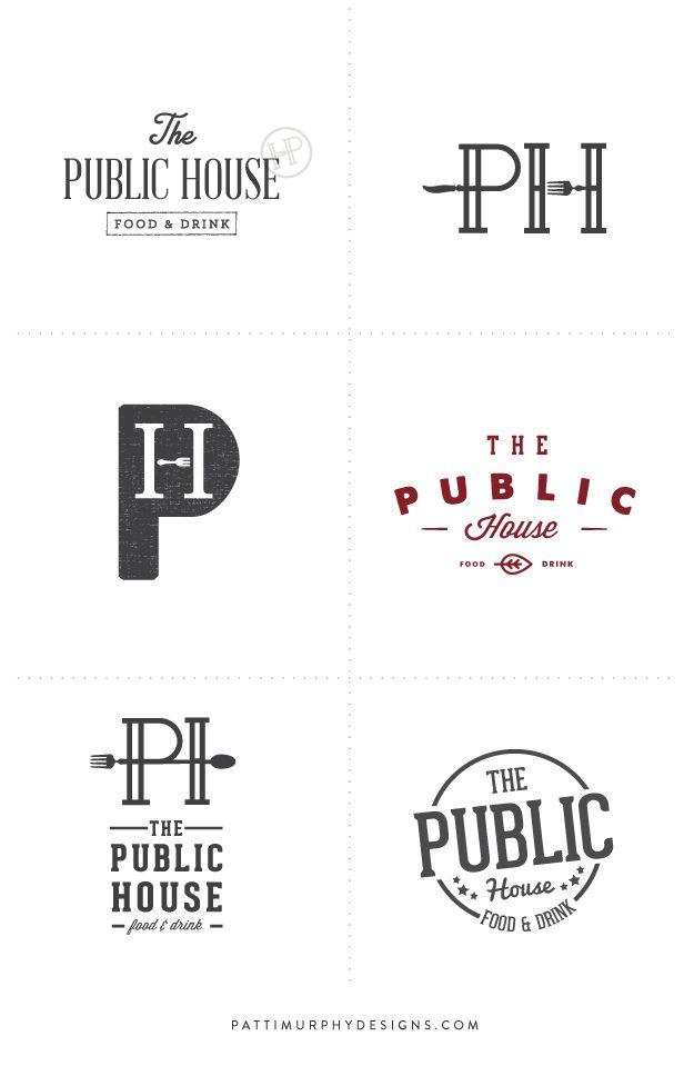 Logo Exploratory // Patti Murphy Designs branding for a restaurant, pub logo, bar and bistro logo design, masculine