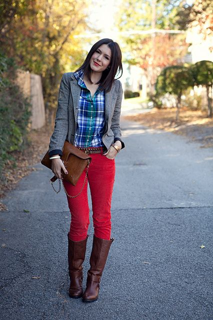 Green/Blue Plaid + Red Pants: Fall Style, Red Skinny Jeans, Red Jeans, Colors Jeans, Plaid Shirts, Brown Boots, Plaid Red, Jeans And Boots, Red Pants