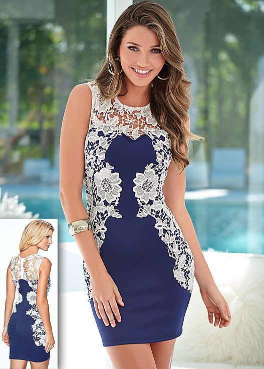 Exquisite lace hugs the curves of your body. Venus lace detail dress.