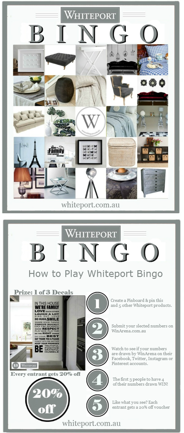 """To enter the Whiteport Bingo contest simply repin this Pin, and 5 other products from this board. When you have chosen your """"Bingo Numbers"""" visit WinArena here http://winarena.com.au/contest/80/show#.UXEJAytHgbo and enter your numbers on the competition page. Each day 1 product will be published on https://www.facebook.com/winarena until the first 3 winners get their numbers. Bonus: every entrant gets a 20% off voucher from Whiteport."""