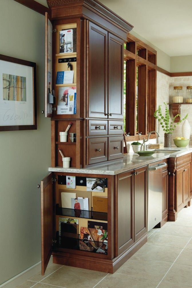 Organize you kitchen with a Wall and Base Message Center by Thomasville Cabinetry.