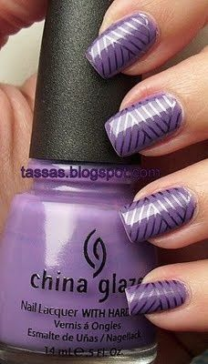 China Glaze Spontaneous lavender manicure. Stamped nail art with CG Awaken, Konad plate s6.