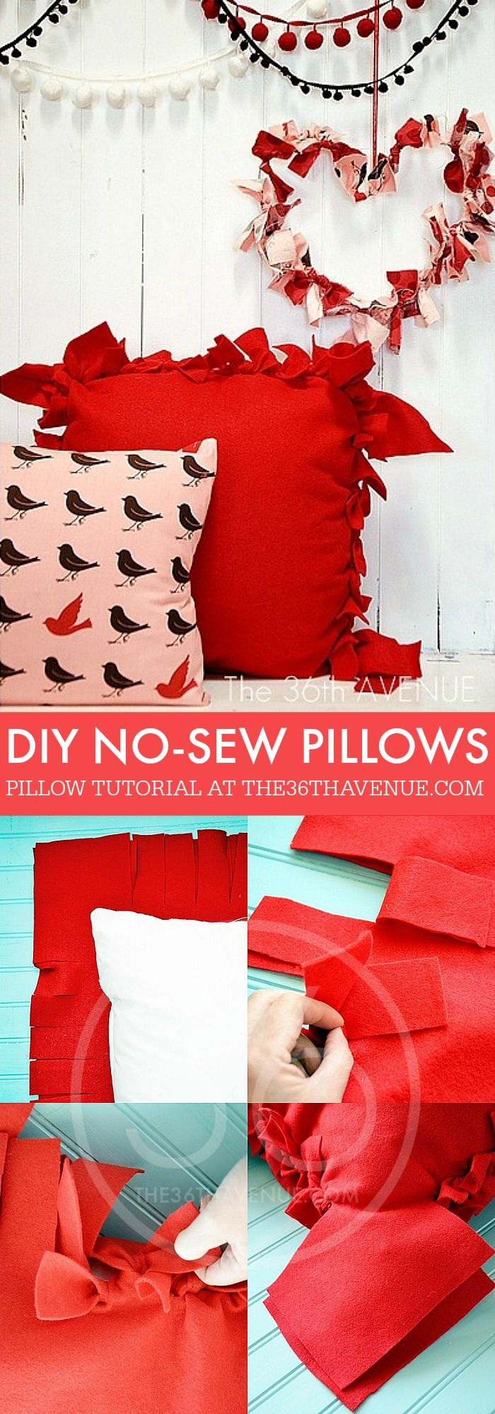 No Sew Pillow Tutorial. How to make a fabric pillow without sewing a stitch.