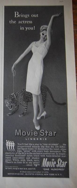 1960 Movie Star Lingerie Lady Slip with Leopard Cat Ad | eBay