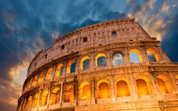 Herunterladen hintergrundbild colosseum, 4k -, nacht -, gladiator-arena, rom, italien