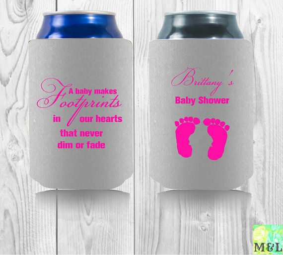 personalized drink koozie a baby makes footprints in our hearts