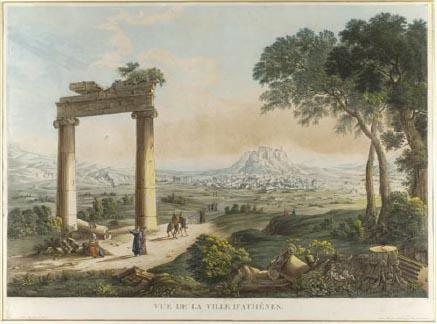 """View of Athens with Hadrian's Aqueduct. Etching from the folio by Louis-Francois Cassas """"Grandes Vues Pittoresques des Principaux Sites et Monuments de la Grece et de la Sicile"""", Paris 1813. Benaki Museum"""