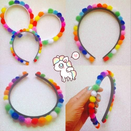CUTE-RAINBOW-PUFF-HEADBAND-KAWAII-HARAJUKU-POMPOM