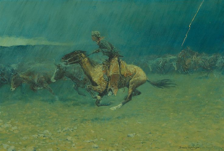 Ag in Art. Frederic Remington, The Stampede - mom had a few of remingtons prints