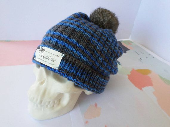 Punk skull candy. Hudson beanie, slouchy unisex winter hat knitted from super soft 100% pure New Zealand merino wool. Handmade in New Zealand by Cornflake Purl.