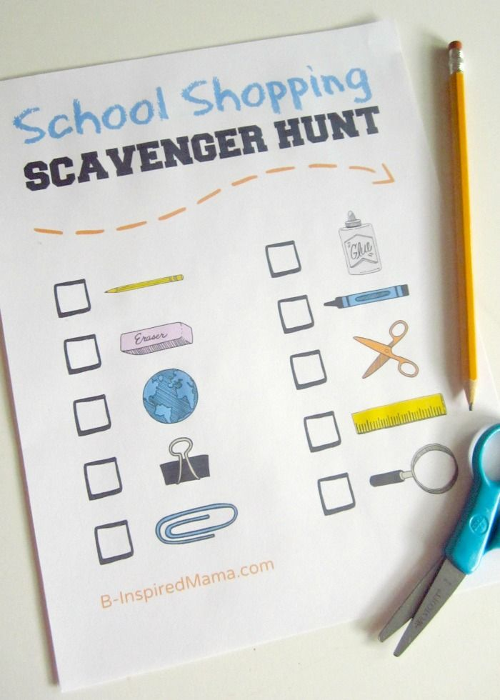 Kids Back to School Shopping Scavenger Hunt at B-Inspired Mama. Shopping can be boring for kids, but Krissy knows how to make it fun: a scavenger hunt. Download her School Shopping Scavenger Hunt to keep kids entertained while you're looking for all those school supplies!
