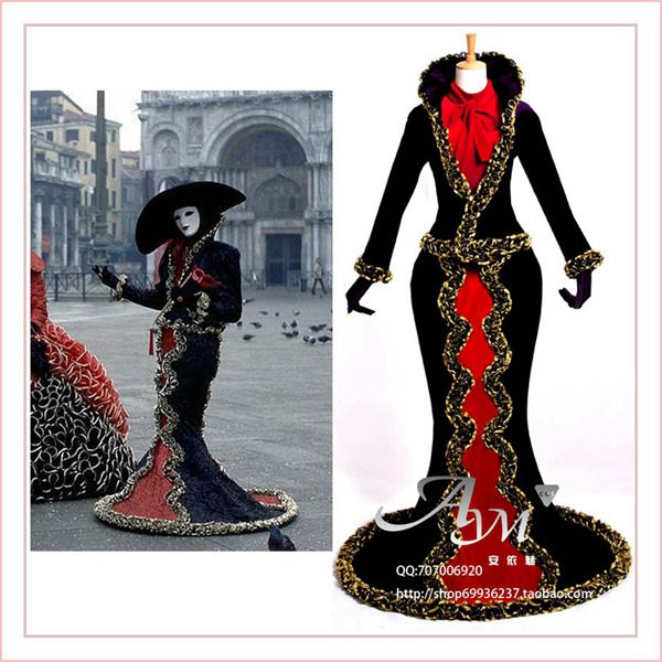 Free Shipping Venice Carnival Dress Italy Venice Traditional Jacket Medieval Gown Cosplay Costume Custom-Made