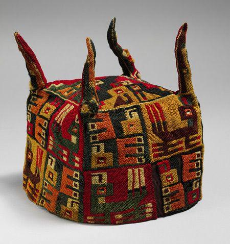 Four-Cornered Hat, 5th–9th century  Peru, Wari  Camelid hair  H. 7 in. (17.8 cm), Diam. 22 3/4 in.