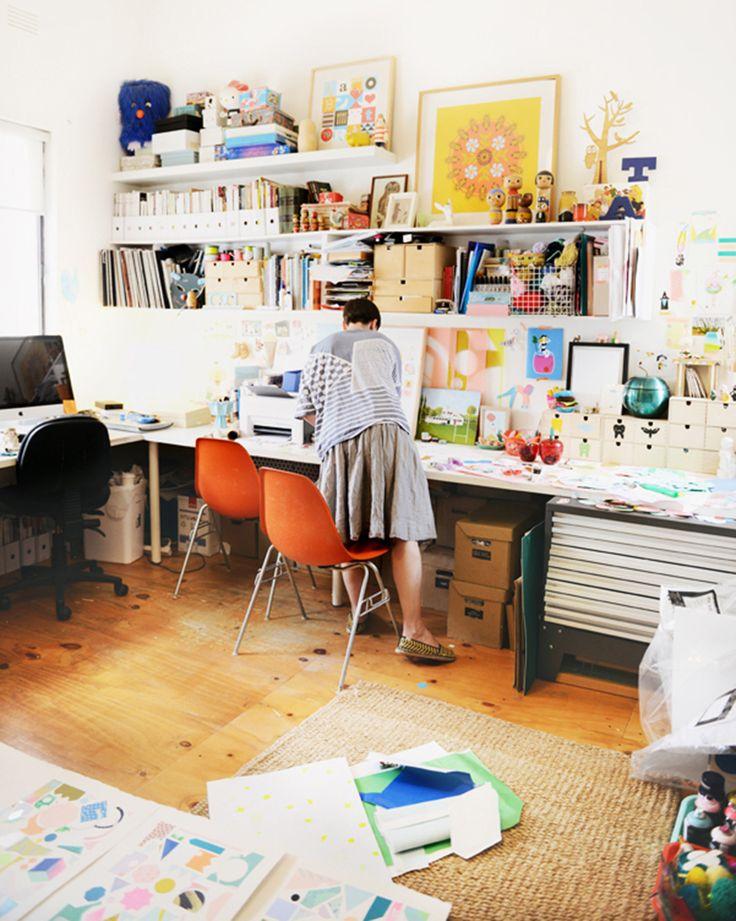 Beci Orpin's studio space~ Photo by Lauren Bamford for Yen Magazine, 2014.