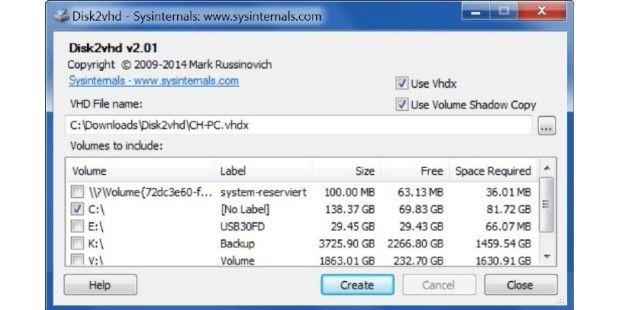 Mithilfe des Programms Disk 2 Vhd konvertieren Sie eine bestehende…
