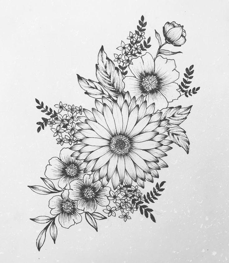 Rose Daisy Flower Clock Tattoo Design Laurence Veilleux   Tattoo Artist  flowert…