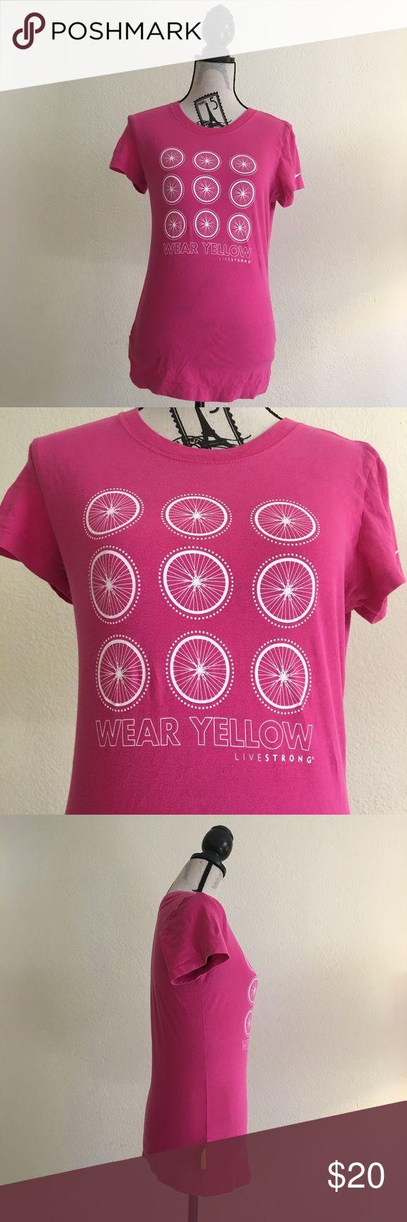 "Nike livestrong pink T Shirt Tee ""Wear yellow"" Nike livestrong pink T Shirt Tee ""Wear yellow"" short sleeve women's size medium Nike Tops Tees - Short Sleeve"