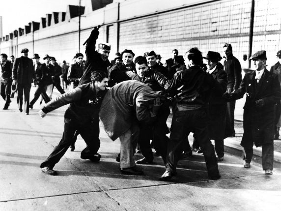 "Ford Strikers Riot, 1942 Pulitzer by Milton Brooks.Describing the circumstances surrounding the photo, Brooks said, ""I