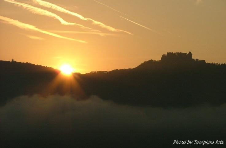 Sunrise over the Castle of Visegrád, Hungary