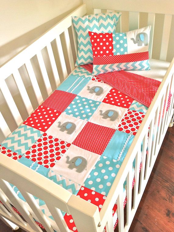 Love this... I think it can work for either boy or girl. yes?  Elephant  Baby  Crib Quilt  and two Cushion by AlphabetMonkey, $235.00