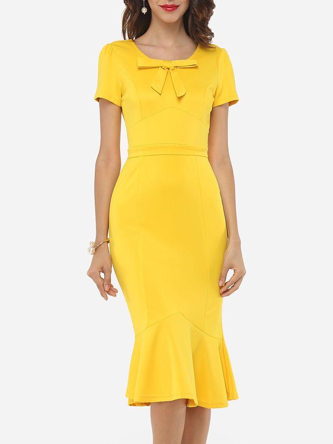 Plain Bowknot Mermaid Nifty Round Neck Bodycon-dress