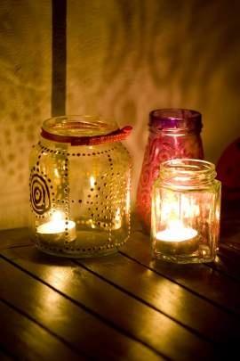 My homemade lanterns - painted glass jars