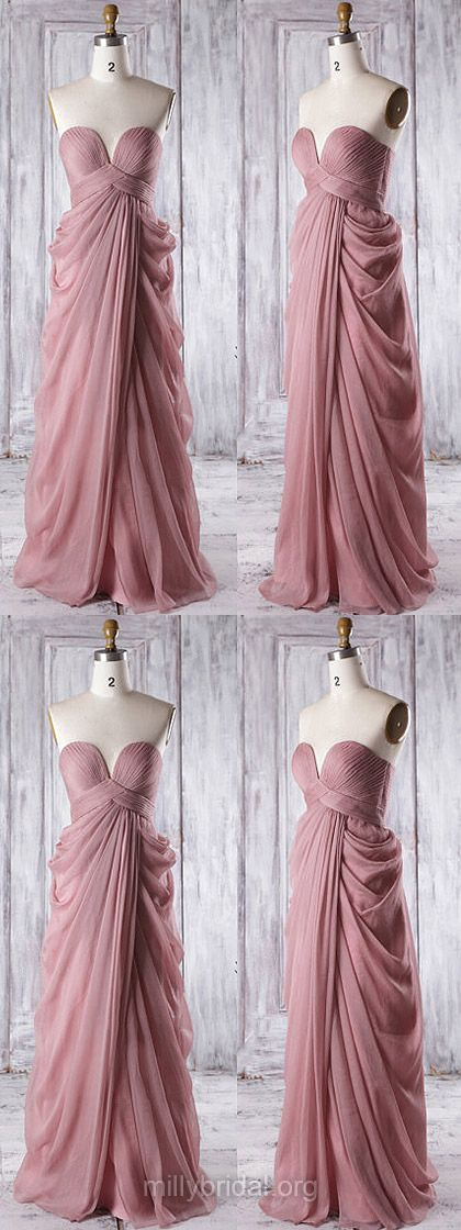 Long Bridesmaid Dresses Purple, Cheap Bridesmaid Dresses 2018, Sweetheart Bridesmaid Dress Chiffon with Ruffles, Empire Bridesmaid Dresses Modest Popular