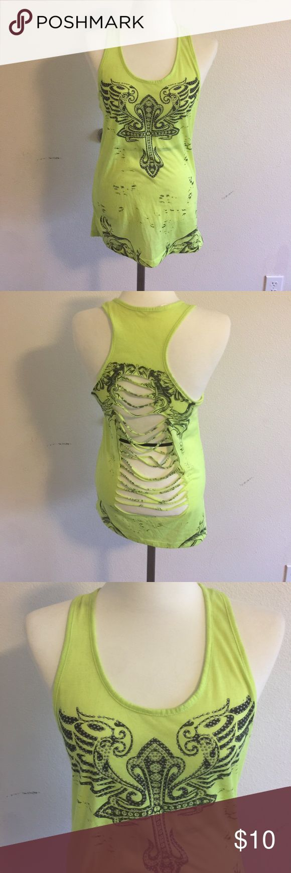 Tank top Neon yellow tank top.  Back shredded? Never worn Tops Tank Tops