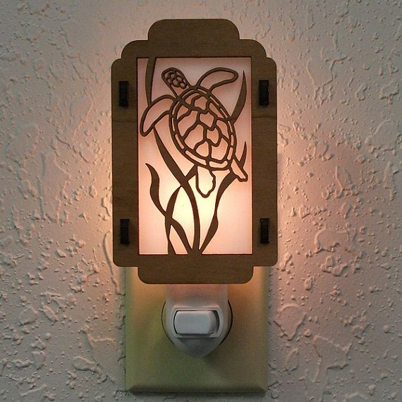 Sea Turtle Night Light with Seaweed sides by robwhitmore on Etsy