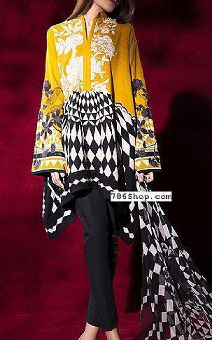 Mustard Slub Suit (2 Pcs) | Buy Muzlin by Sana Safinaz Pakistani Dresses and Clothing online in USA, UK