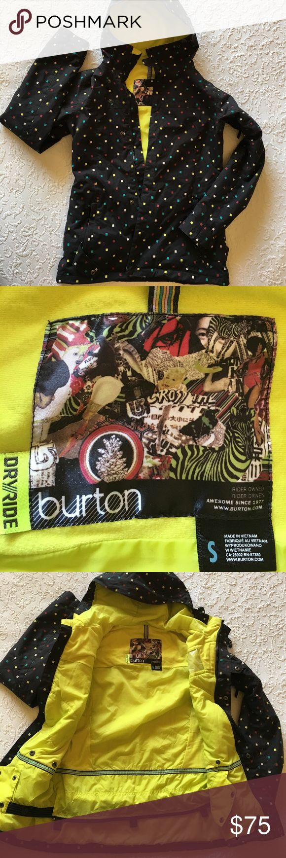 Burton snowboarding jacket Beautiful Burton DryRide snowboarding jacket with all the bells and whistles you'd expect to find from Burton. In excellent condition. Black with bright yellow interior. Burton Jackets & Coats