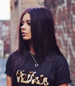 dark purple hair....my hair color right now ;) How about this one?