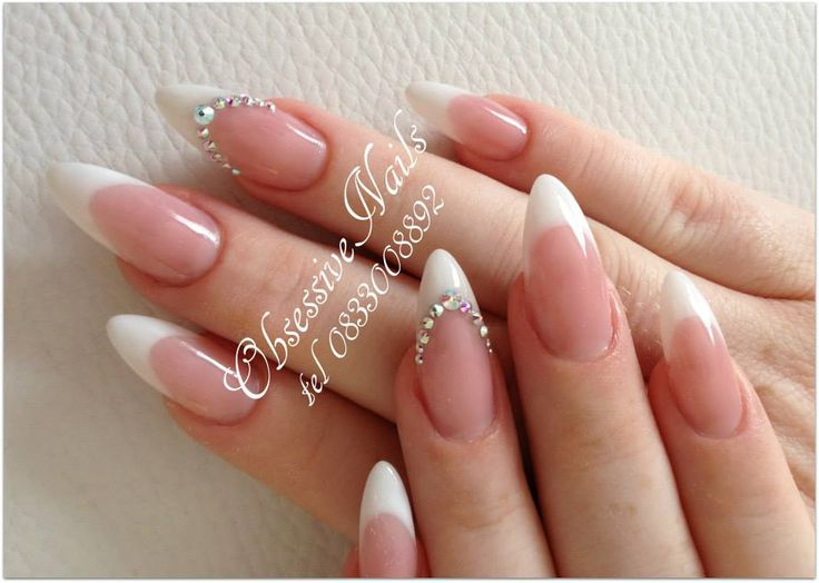 French manicure designs with crystals