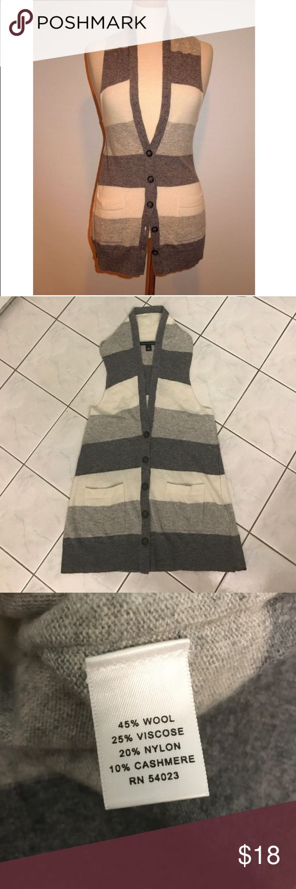 Banana Republic Gray Sweater Stripe Vest Such a cute addition to your fall, winter, or spring wardrobe! Like new condition. Banana Republic Jackets & Coats Vests