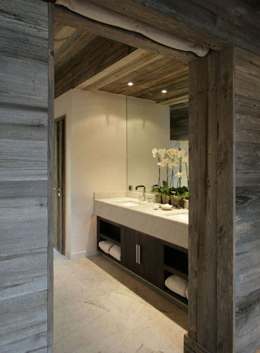 Fiona Barratt Interiors -The Lodge in Switzerland #rustic #bathroom #wood plank walls