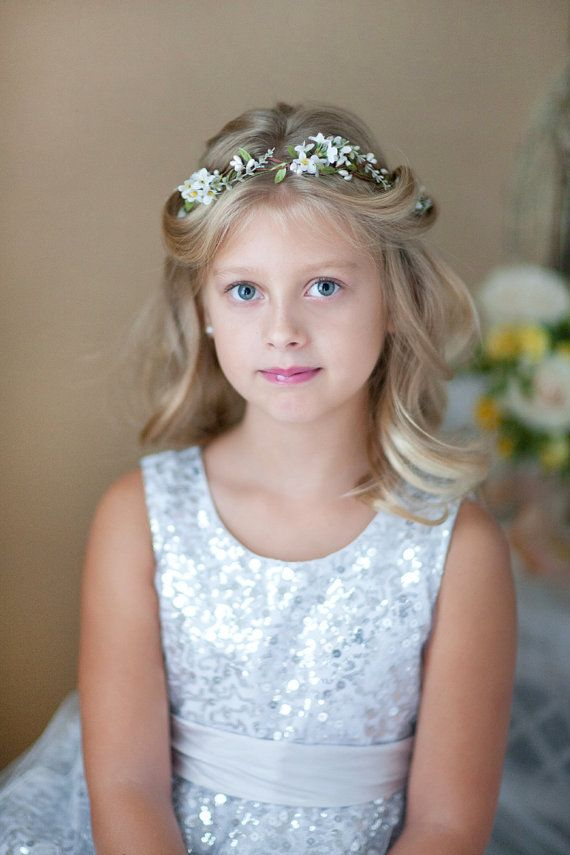 Flower girl crown, white flower crown, first communion headpiece, flower girl…