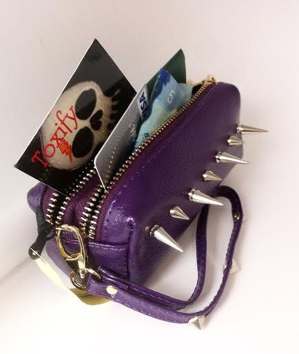 Spiked Genuine Leather Purple Clutch Coin Purse Wallet with Key Ring & Zippered Compartments + Carry Strap by ToxifyDesigns on Etsy